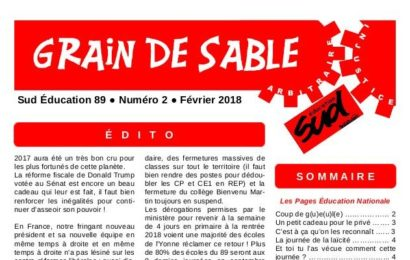 Sud Education 89 : le grain de sable du 1er trimestre 2018